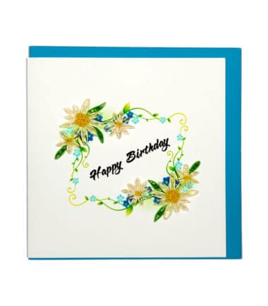 Quilling Card - White Flower Wreath - Birthday Card