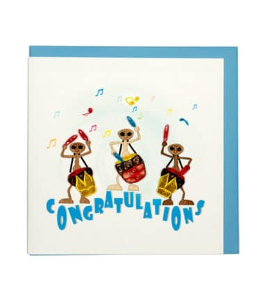 Quilling Card - Ants Playing Music - Congratulation Card