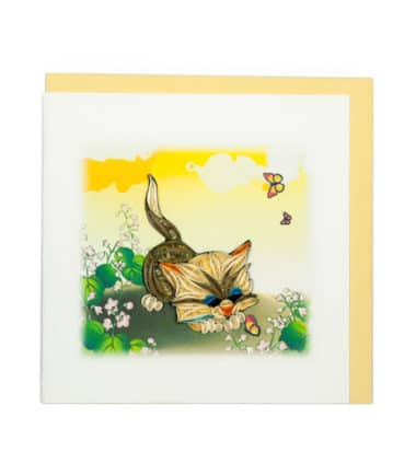 Quilling Card - Cat & butterflies - Blank Card