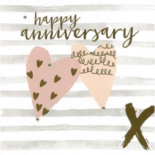 Blush Greeting Card with Gems – Happy Anniversary