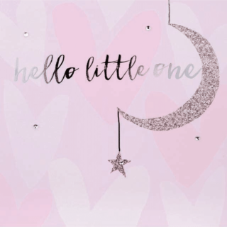 Blush Greeting Card with Gems – Hello Little One Baby Girl Card
