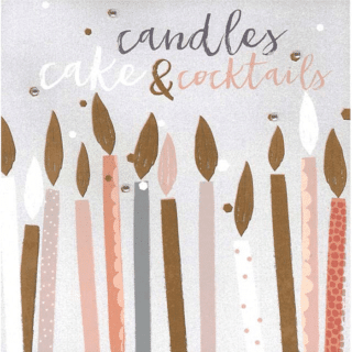 Blush Greeting Card with Gems – Candles, Cake and Cocktails