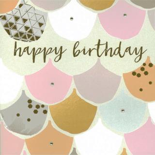 Blush Greeting Card with Gems – Happy Birthday
