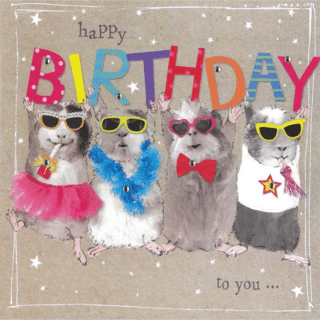 Birthday Card - 4 Birthday Party Mouses with - Happy Birthday to You...