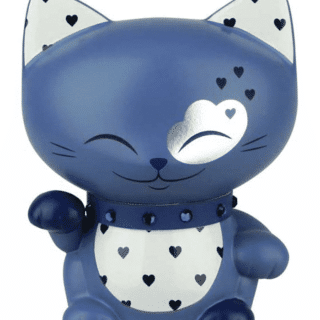 Mani The Lucky Cat Figurine – Dark Blue - Small, gift idea for girls