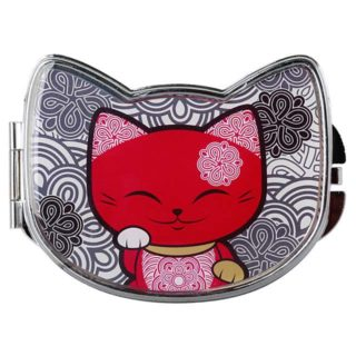 Mani The Lucky Cat Compact Mirror – Red and Black (Cat 026)