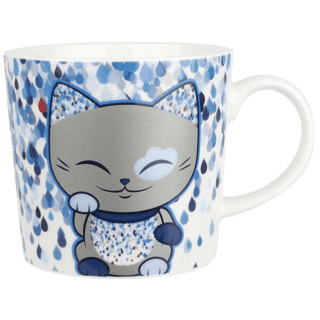 Mani The Lucky Cat Mug – Sliver and Blue (Cat 025)