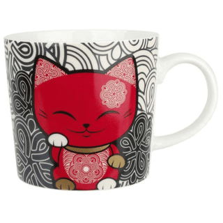 Mani The Lucky Cat Mug – Red and Black (Cat 026)