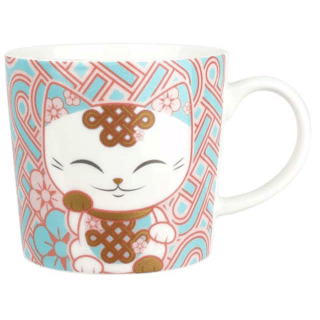 Mani The Lucky Cat Mug – White and Pink (Cat 027)