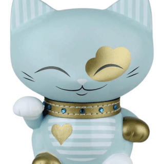 Mani The Lucky Cat Figurine – Light Blue and Gold - Medium, gifts for her