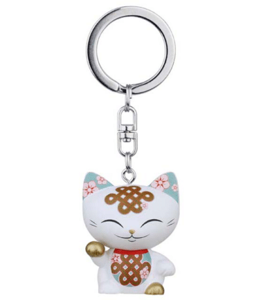 Mani The Lucky Cat Keychain – White. Lucky gifts for her