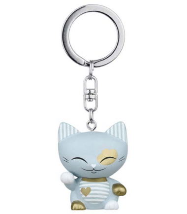 Mani The Lucky Cat Keychain – Light Blue. Gifts for her, lucky gifts
