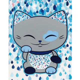 Mani The Lucky Cat – Notebook – Sliver and Blue