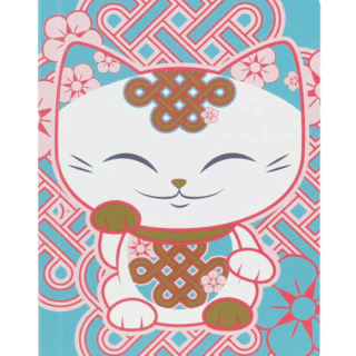 Mani The Lucky Cat – Small Notebook – White and Pink (Cat027)