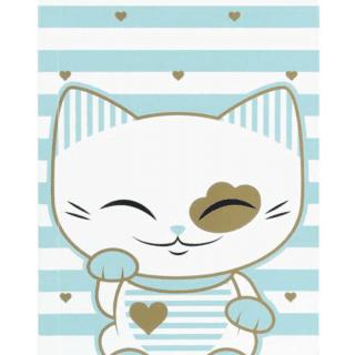 Mani The Lucky Cat – Small Notebook – Light Blue (Cat028)