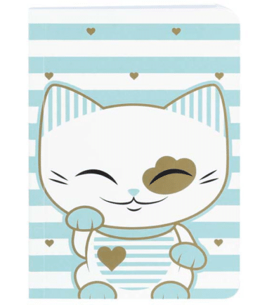 Mani The Lucky Cat – Small Notebook – Light Blue (Cat028)