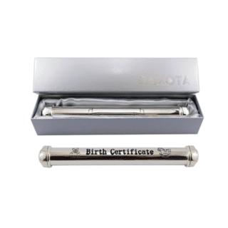 Dakota – Silver Baby Birth Certificate Holder with Stand
