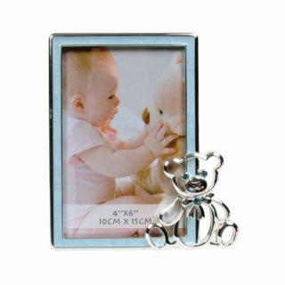 Dakota – Baby Boy Blue Bear Photo Frame with Diamante