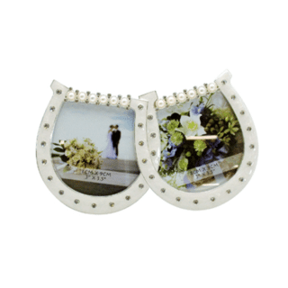 Dakota – Wedding Twin Horseshoe Photo Frame with Diamante