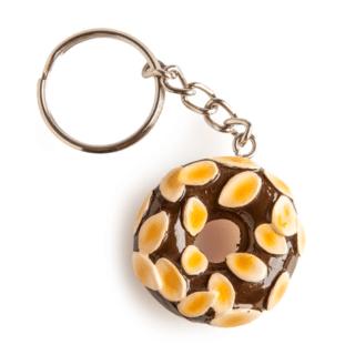 Chocolate and Almonds Doughnut Hand-painted Keychain