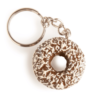 Chocolate with Coconut Doughnut Hand-painted Keychain