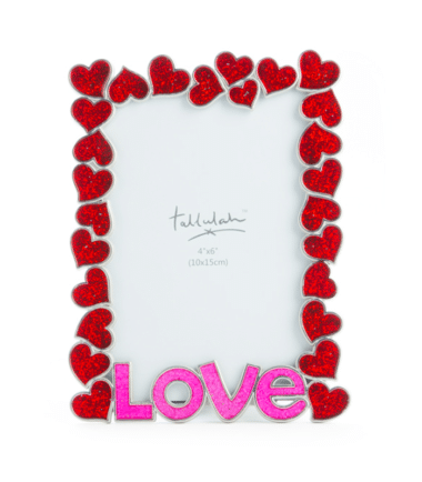 Metal Red Glitter Love Photo Frame