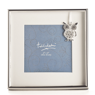 Silver Baby Photo Frame with Diamante Encrusted Owl Charm