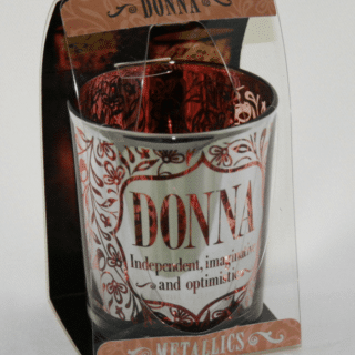 Metallics Personalised Candle Pot with Name Meaning – Donna