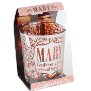 Metallics Personalised Candle Pot with Name Meaning – Mary