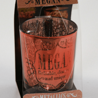 Metallics Personalised Candle Pot with Name Meaning – Megan