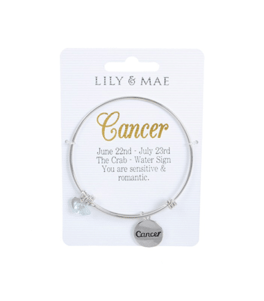 Personalised Bangle with Silver Charm – Cancer