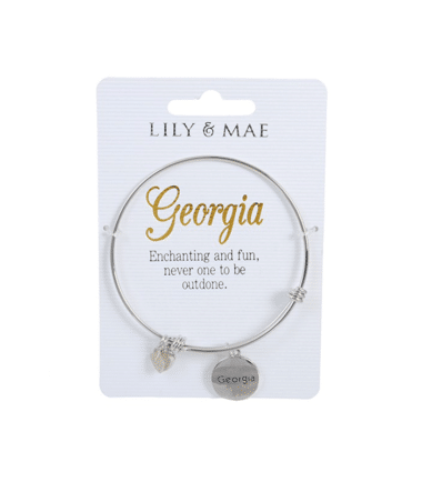 Personalised Bangle with Silver Charm – Georgia