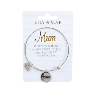 Personalised Bangle with Silver Charm – Mum