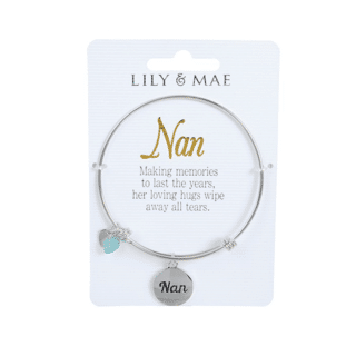 Personalised Bangle with Silver Charm – Nan