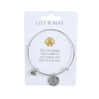 Personalised Bangle with Silver Charm – Shell Motif
