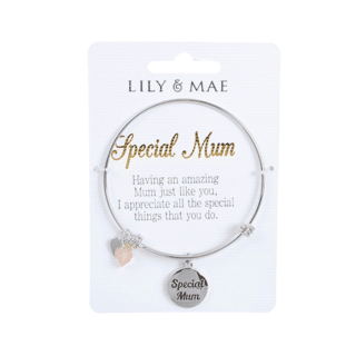 Personalised Bangle with Silver Charm – Special Mum
