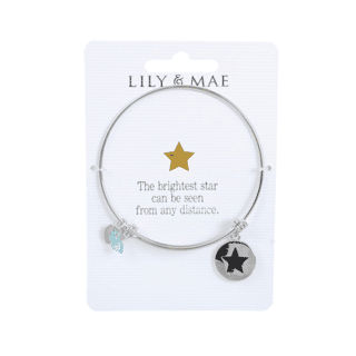Personalised Bangle with Silver Charm – Star, Personalised gifts for her