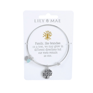 Personalised Bangle with Silver Charm – Tree Motif