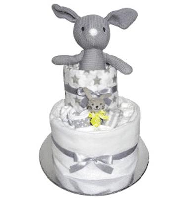 ES Kids - Grey Bunny Nappy Cake Gift Set