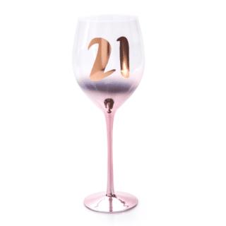 21st Birthday Blush Wine Glass