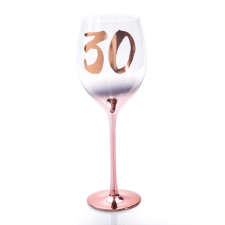 30th Birthday Blush Wine Glass
