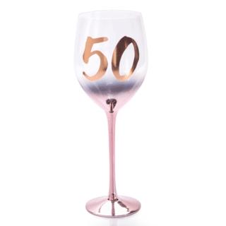 50th Birthday Blush Wine Glass