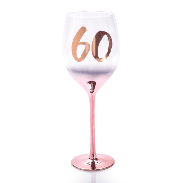 60th Birthday Blush Wine Glass