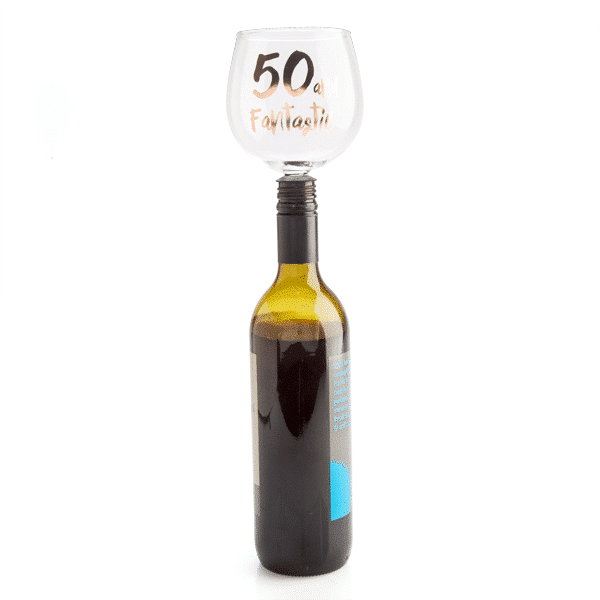50 and Fantastic Tipple Topper Wine Glass