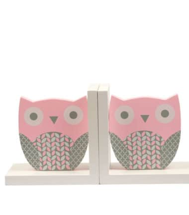 ES Kids - Wooden Pink Owl Bookends