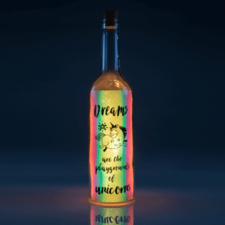 Dream Iridescent Wishlight Bottle - Dreams are the Playgrounds of Unicorns