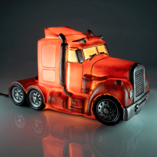 Red Metal Look Truck LED Table Lamp