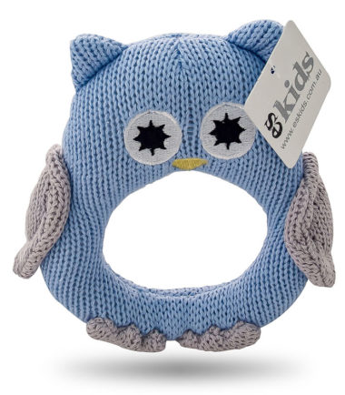 ES Kids - Blue Knitted Owl Ring Rattle. Gifts for babies of all ages