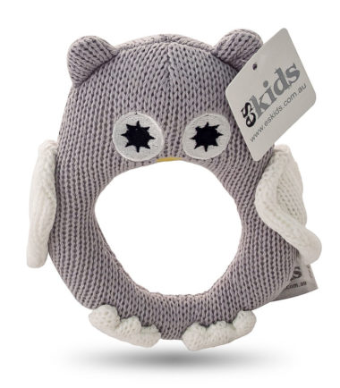 ES Kids - Grey Knitted Owl Ring Rattle. Gifts for new born and toddlers