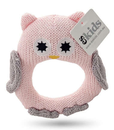 ES Kids - Pink Knitted Owl Ring Rattle. Gifts for babies of all ages